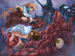 Knight Nightmare Sophitia Soul_Calibur Tentacle armour beast blonde_hair blue_eyes braids censored giant_eye open_mouth panties_pull rape restrained scream skirt tentacle_monster thighhighs white_skin // 800x600 // 361.3KB