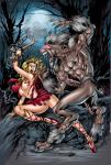 Red_Riding_Hood fighting_back half_naked torn_clothes weapon_basket werewolf // 450x663 // 193.3KB