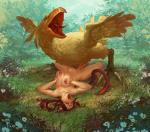 Final_Fantasy Nipple_Piercings bird_monster bulge chocobo nude stomach_bulge willing_girl // 1000x881 // 367.7KB