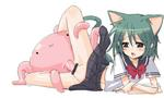 Tentacle animal blob catgirl cute green_hair grey_eyes miniskirt monster open_mouth penetration rape schoolgirl skirt_lift tail white_skin // 963x575 // 53.4KB