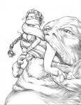 Leia Princess_Leia Star_Wars jabba_the_hutt sketch steve_reno tongue vore // 600x775 // 98.1KB