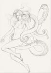 Tentacle art bikini light_hair light_skin pencil underwater // 528x745 // 57.4KB