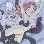 Tentacle ariel armpits arms_up asphyxiation belly_button bikini breast_grab breast_squeeze captured closed_mouth eyes_wide_open from_behind licking_lips little_mermaid monster naked rape red_hair stripped surprised ursula vaginal_penetration yuri // 350x350 // 46.1KB
