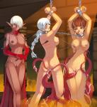 Tentacle Vaginal arms_above_head bondage chains elf monster_girl nude piercings rape tears three_girls uncensored // 900x980 // 517.9KB