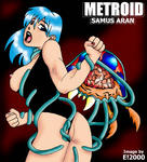 Metroid Samus_Aran blue_eyes blue_hair open_mouth painted_nails panties_pull restrained scream swimsuit tentacles white_skin // 348x384 // 43.8KB
