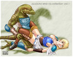 Sophitia Soul_Calibur Vaginal blood corset cum gauntlet glazed_eyes green_eyes highres leg_grab lizardman monster on_back rape reptile skirt thighhighs willing yellow_eyes // 1533x1205 // 970.4KB