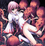 Final_Fantasy Tentacle breast_grab breast_squeeze censored cum green_eyes monster open_mouth pink_hair rape skirt_lift socks tentacles white_mage // 671x687 // 142.7KB