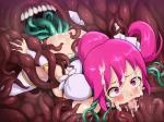 blushing cum_on_face ear_fuck numeko pink_hair restrained tentacles // 1600x1200 // 279.0KB