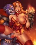 Lina breast_exposed clenched_teeth defeated demon dota_2 freckles legs_spread lion monster rape wink // 974x1200 // 1.2MB