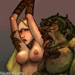 anticipation arms_restrained artist_Faustie monster naked_girl scared tongue_licking // 1000x1000 // 527.3KB